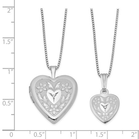 925 Sterling Silver Rhodium Plated Diamond Polished Heart Shaped Locket and Pendant Set - image 1 de 2