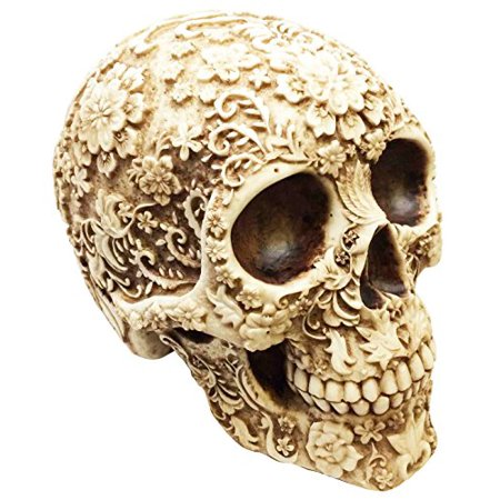 Awesome Skull Design - DESIGN GRAPHIC FLORAL TATTOO SKULL STATUE RESIN FIGURINE AWESOME DETAILS