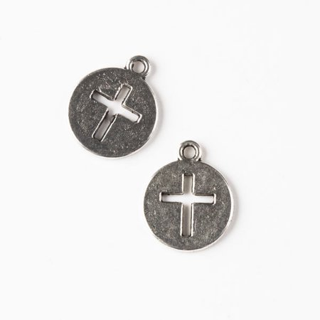 New Cute Beads Silver Charm - Cherry Blossom Beads Silver Pewter 14x17mm Coin Charm with Cut Out Cross - 10 per bag