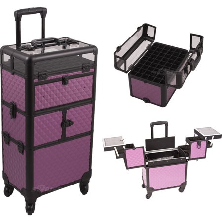 Purple Diamond Pattern 3-Tiers Accordion Trays 4-Wheels Professional Rolling Aluminum Cosmetic Makeup Case and Nail Case with Clear Panel Foundation Holder & Dividers - I31064