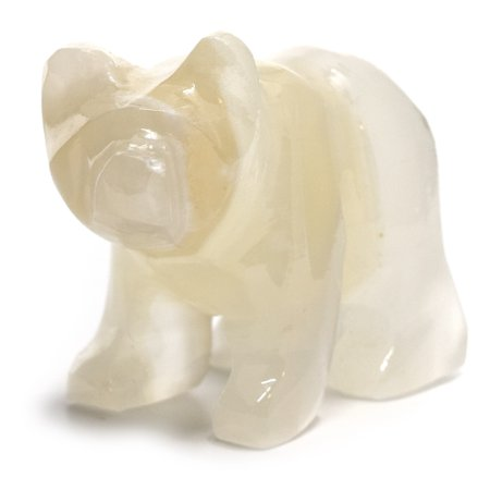 "Gentle Amber Onyx Aragonite Grizzly Bear, 3"" long, 2.25"" tall, (0.4lb), Carved from Real North American Amber Onyx Aragonite - The Artisan Mined Series by hBAR"