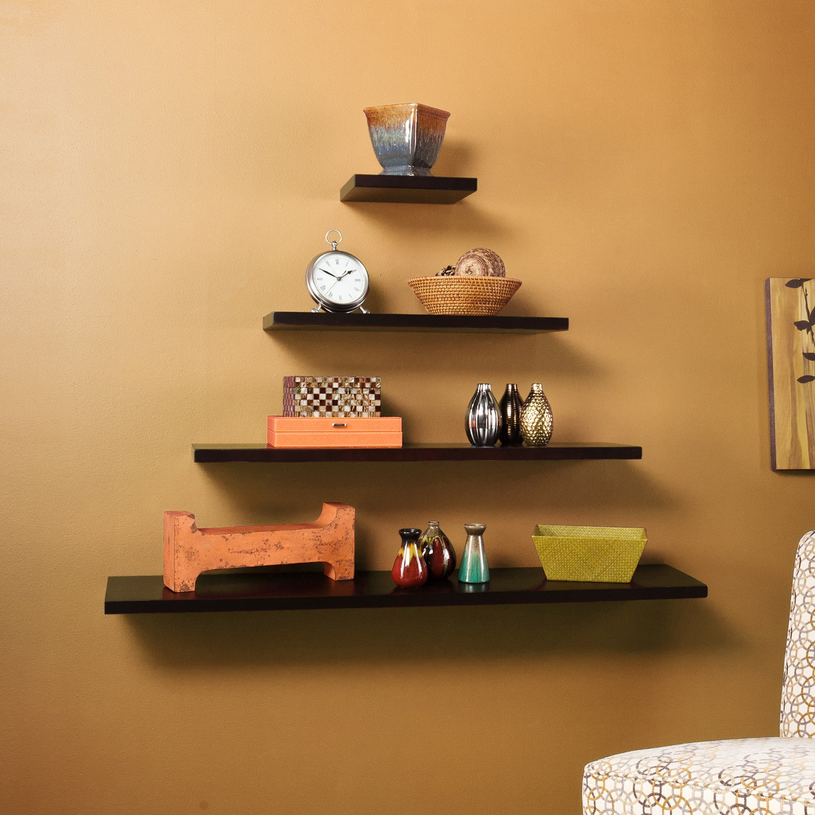 Wall To Wall Shelves simple wall shelves design for bedroom