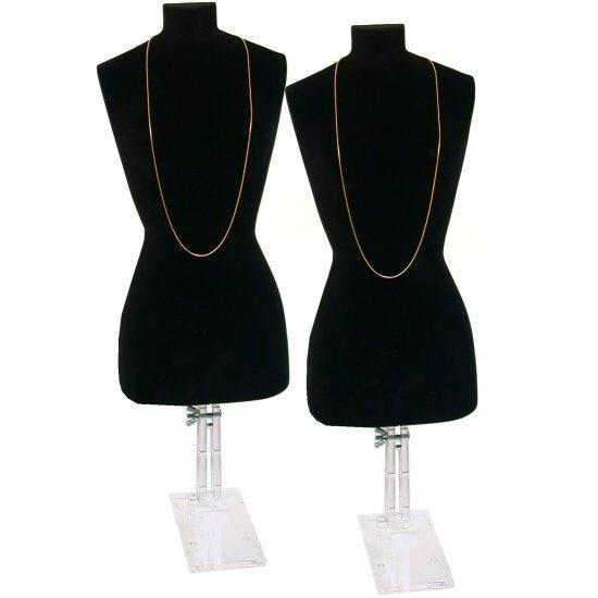 2 Black Necklace Bust Jewelry Body Window Case Displays