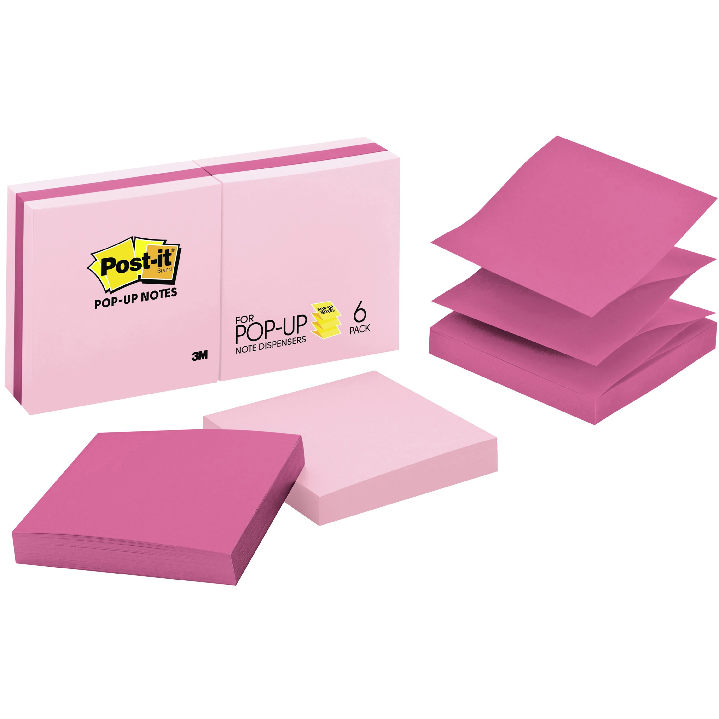 """Post-it Pop-up Notes, 3"""" x 3"""", Assorted Pink, Pink, 6 / Pack"""