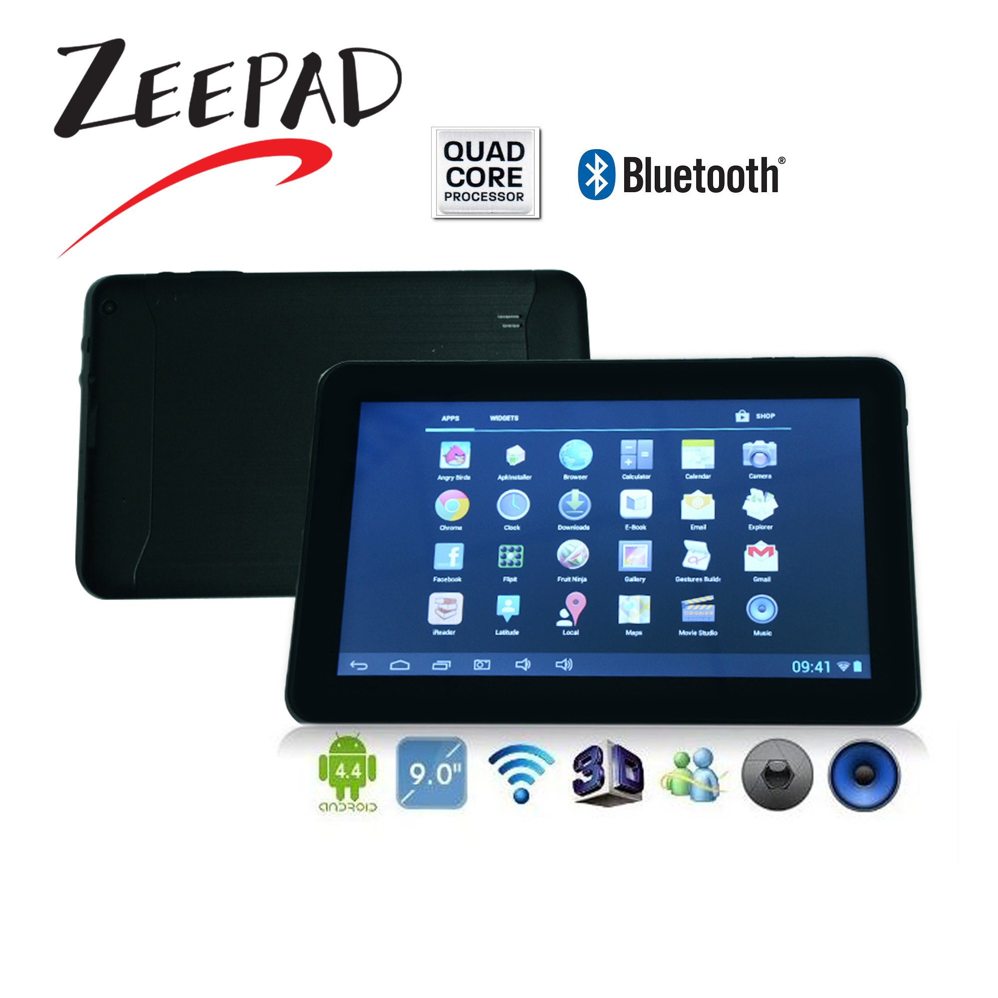 9inch Google Android 4 4 Quad Core Allwinner A33 Multi-Touch Screen 8GB  Bluetooth, WiFi, Dual Camera Tablet PC-Black