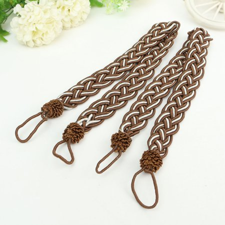 Knit Tie Back (Meigar 2Pcs House Window Curtain TieBacks  Vintage Knitted Braided Curtain Cord Rope Buckle Fringe Tie Backs Home Decor)