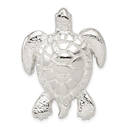 Silver Turtle Slide Pendant - 925 Sterling Silver Textured Turtle Chain Slide Pendant Charm Necklace Gifts For Women For Her