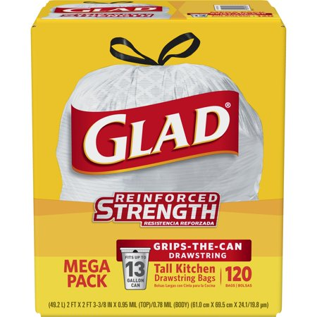 Glad Tall Kitchen Drawstring Trash Bags - 13 Gallon - 120 ct - Halloween Trash Bag Costume