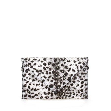 8b4499220435 Lucky Fifty7 - Women's Vegan Leather Studded Leopard Print Envelope Clutch  Purse Handbag - Walmart.com