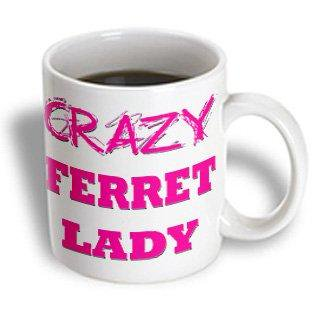 Ferret Mug (3dRose Crazy Ferret Lady, Ceramic Mug,)
