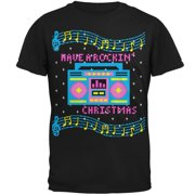 Retro Boombox Have a Rockin' Ugly Christmas Sweater Mens T Shirt Black MD