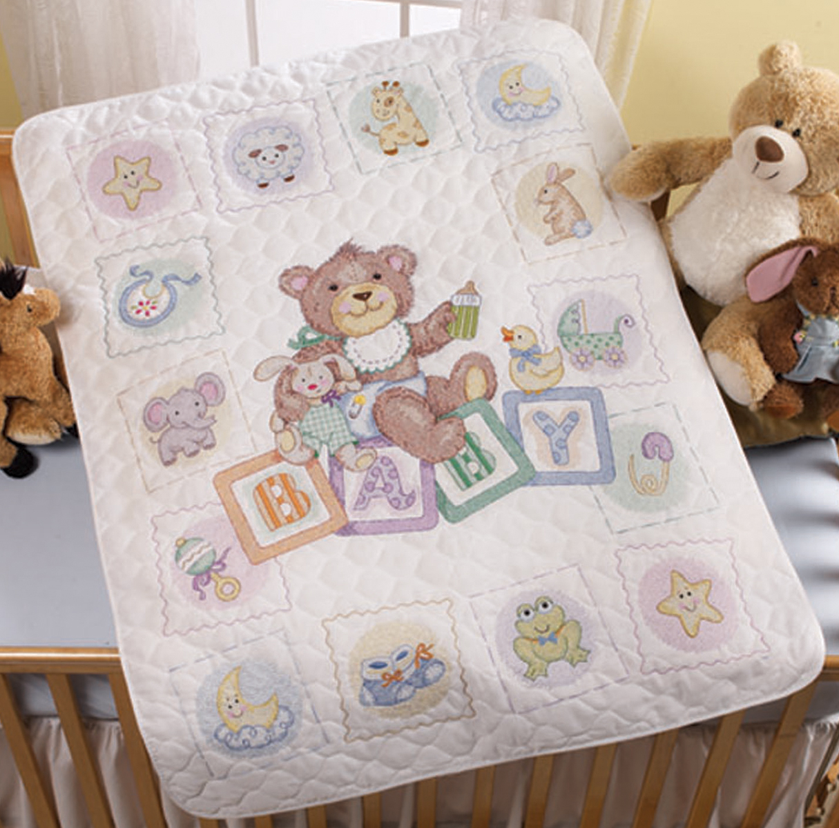 "Baby Blocks Crib Cover Stamped Cross Stitch Kit, 34"" x 43"""