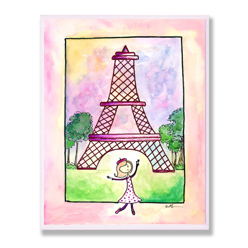 Girl in Paris Rect Wall Plaque