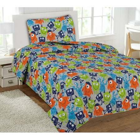 Children's 2 Piece Quilted Bed Spread Cover - Monster Mash ()