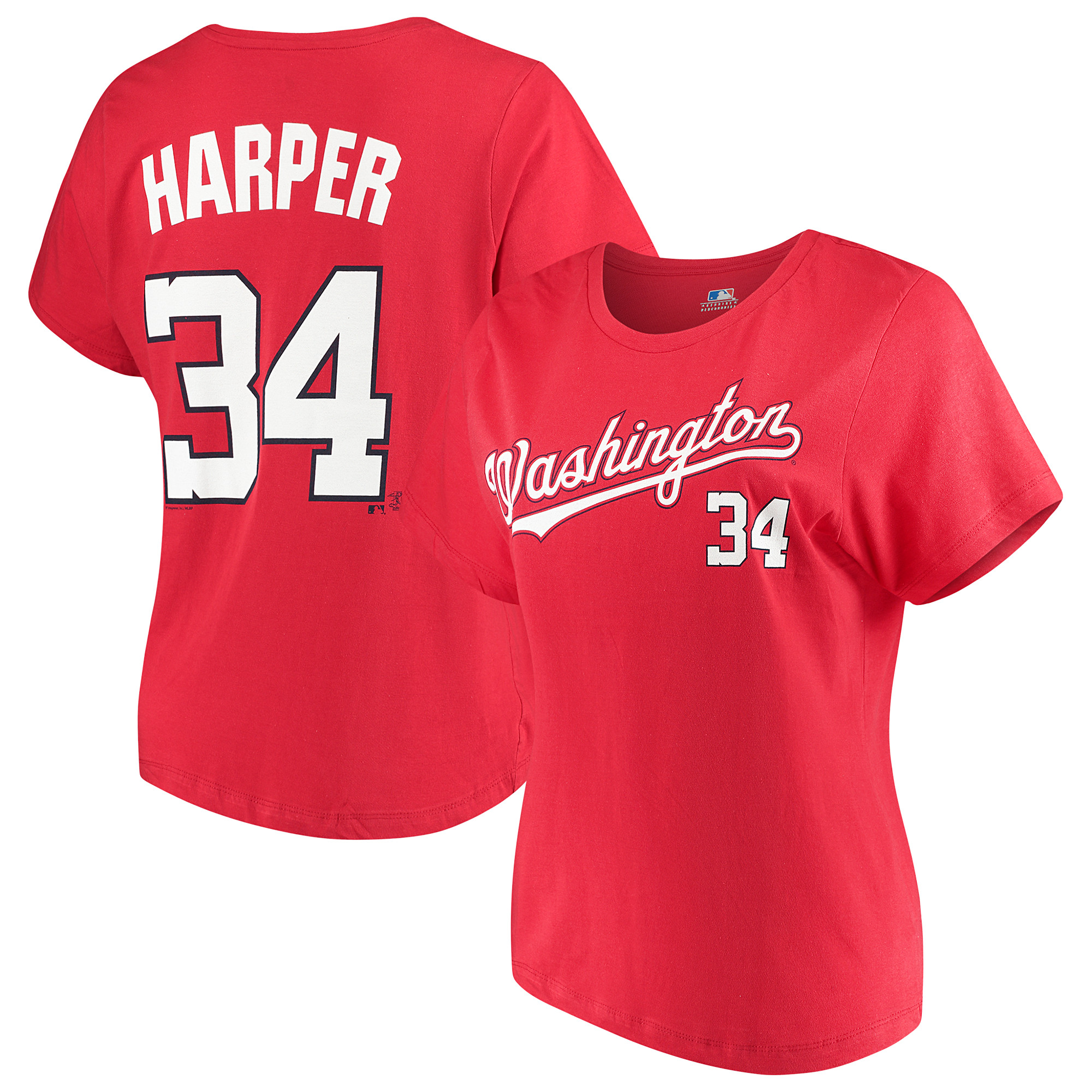 Women's Majestic Bryce Harper Red Washington Nationals Team Name & Number T-Shirt