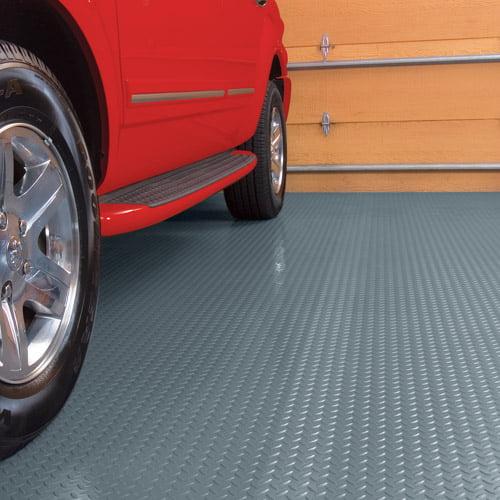 G-Floor Garage Floor Cover/Protector, 7.5' x 17', Diamond Tread, Slate Grey