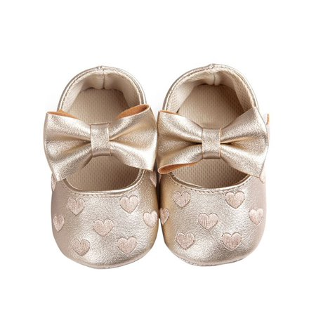 Toddler Baby Prewalker Shoes Girl Princess Bowknot Soft Sole Crib Shoes 0-18M ()