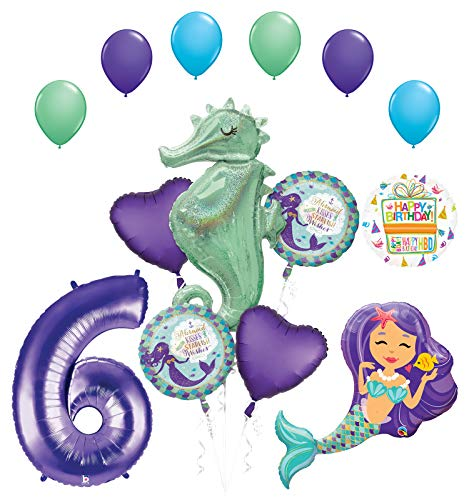 Mermaid Birthday Decorations (Mermaid Wishes and Seahorse 6th Birthday Party Supplies Balloon Bouquet)