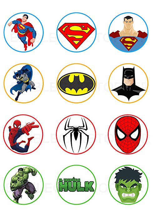 image about Printable Edible Cake Toppers named Superman, Batman, Spiderman, Hulk Edible Cupcake Toppers (12 Illustrations or photos) Cake Picture Icing Sugar Sheet Edible Cake Photographs strgth