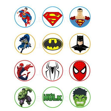 Superman, Batman, Spiderman, Hulk Edible Cupcake Toppers (12 Images) Cake Image Icing Sugar Sheet Edible Cake Images strgth - Spiderman Cupcake Topper
