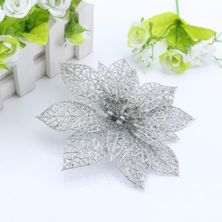 Hilitand 1/5/10pcs Christmas Flower Glitter Hollow Wedding Party Decor Christmas Flowers Tree Decorations(Gold,Silver,Green,Purple) - Flower Glitter