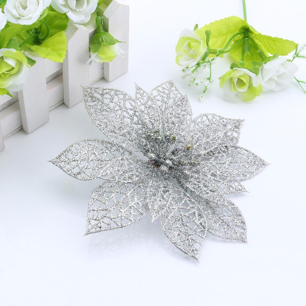 WALFRONT Christmas Flower,Glitter Hollow Wedding Party Decor Christmas Flowers Tree Decorations