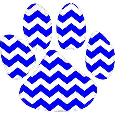 - 5in x 4.5in Blue White Chevron Paw Print Wildcat Tiger Lion Cougar Bumper Sticker Vinyl Window Decal