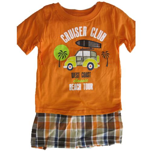 Weeplay Little Boys Orange Gray T-Shirt Plaid 2 Pc Shorts Set 2T