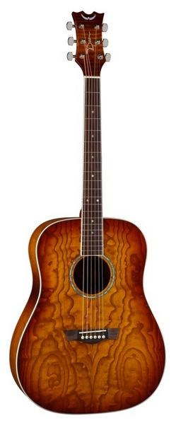 Dean AX DQA TSB Axs Dread Quilt Ash Acoustic Guitar With Tobacco Sunburst Finish by
