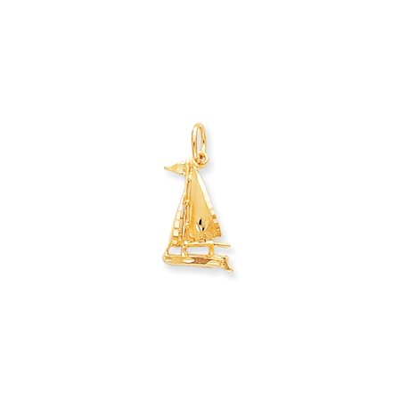 ICE CARATS 10kt Yellow Gold Sailboat Pendant Charm Necklace Sea Shore Boating Fine Jewelry Ideal Gifts For Women Gift Set From Heart (Gold Sailboat)
