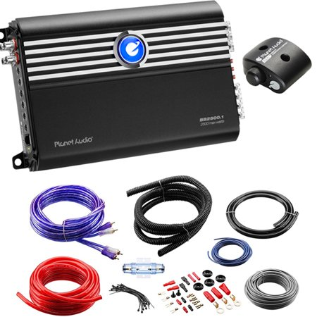 Planet Audio BB2500.1 2500W Mono Amp with Planet Audio 4GPK 4AWG Amp Install - Mono Audio Card