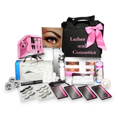 Eyelash Extension Kit | No Burn Glue Non Irritant | Made in USA | Over 300 Applications with Lashes Single, Cluster, Strip, Designer. Professional Use (Best Professional Eyelash Extension Glue)