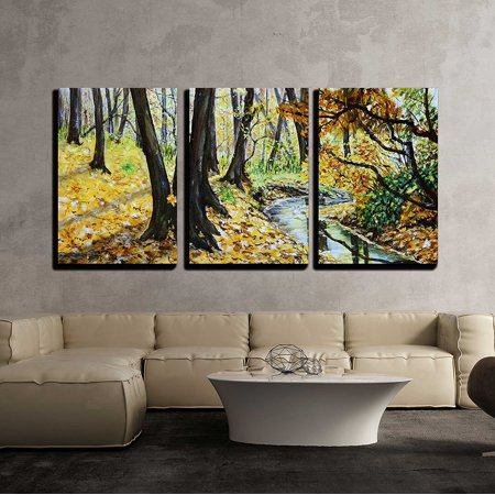 wall26 - 3 Piece Canvas Wall Art - Autumn Forest with a Stream Original Landscape Painting. - Modern Home Decor Stretched and Framed Ready to Hang - 24