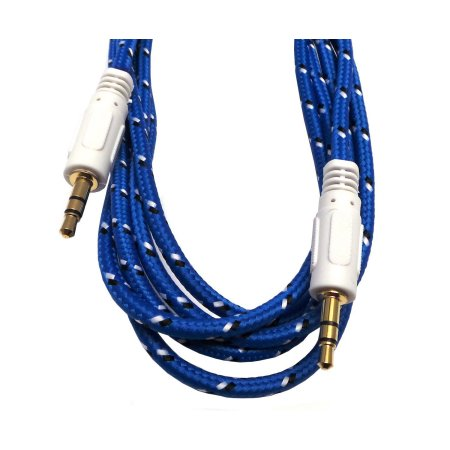 Braided Gold Plated 3.5mm Stereo Auxiliary Aux Cord Cable (12ft) For iPhone 6S 6 Plus 5.5 / 4.7 Samsung Galaxy S8 S8 Plus S7 Headphones, iPods, iPhones, iPads, Home / Car Stereos and More - Blue