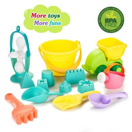 Fitnate 14PCS Beach Toys Set Soft Plastic Pool Toy s/Bath with Mesh Bag/Truck/ Bucket/Shovels/Rakes/Lots of Sand Molds/BPA Free for Kids Boys Girls&