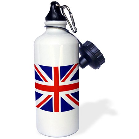 3Drose British Flag   Red White Blue Union Jack Great Britain United Kingdom Uk England English Souvenir Gb  Sports Water Bottle  21Oz