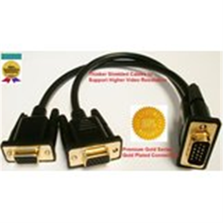 PTC Premium 1-FT GOLD Series VGA / SVGA 1 source to 2 displays Splitter cable - 2 separated leads for the displays for greater reliability and eliminates signal interference. Duplicates the image from