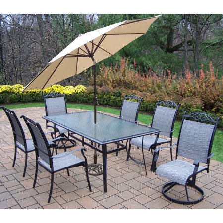 Oakland Living Cascade Aluminum 9 Piece Rectangular Patio Dining Set with