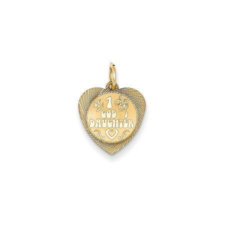 14k Yellow Gold Number 1 GodDaughter Heart Disc Charm - .6 Grams - Measures 18.1x13.2mm
