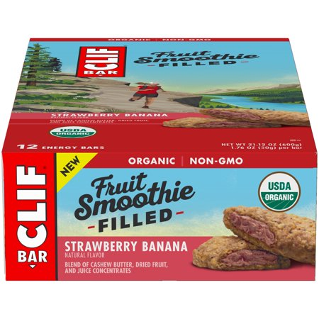 - Clif Bar® Fruit Smoothie Filled Strawberry Banana Energy Bar 12-1.76 oz. Bars