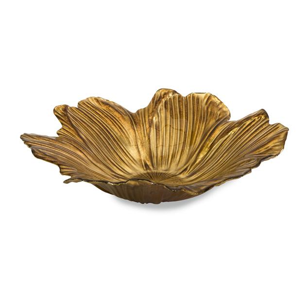 """15.75"""" Decorative Golden Floral Bloom Food-Safe Glass Serving Dish"""