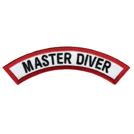 Master Diver Scuba Certification Chevron Embroidered Iron-On Patch Mastering Machine Applique