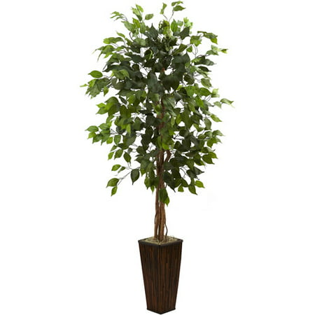 Nearly Natural 5.5-ft. Artificial Ficus Tree with Bamboo Planter ()