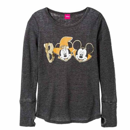 Disney Girls Gray Thermal Mickey & Minnie Mouse Halloween Shirt Boo Tee X-Small (Mickey And Minnie Halloween Countdown)