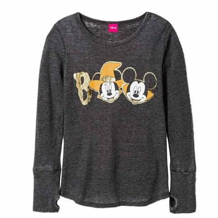 Disney Girls Gray Thermal Mickey & Minnie Mouse Halloween Shirt Boo Tee - Mickey And Minnie Halloween Tree