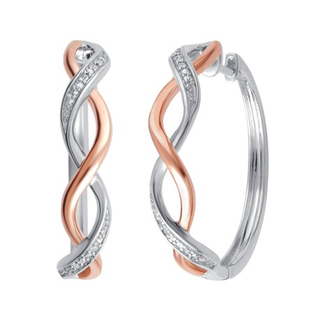 Genuine  0.02 Carat Natural Diamond Accent  Two Tone Twisted Hoop Earrings  In 14K Rose Gold Plated