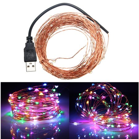 2m 9 Colors Copper Line Light String  20Led USB  Red Yellow Blue Green White Warm White Purple Pink RGB Single (Offshoot Shaun White)