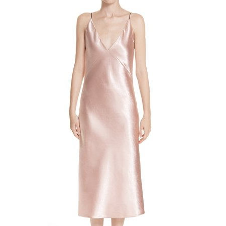 Blush Womens Small Satin V-Neck Midi Gown S