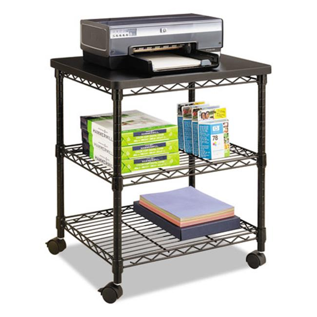 Safco Products 5207BL Three-Shelf Desk Side Wire Machine Stand, Black