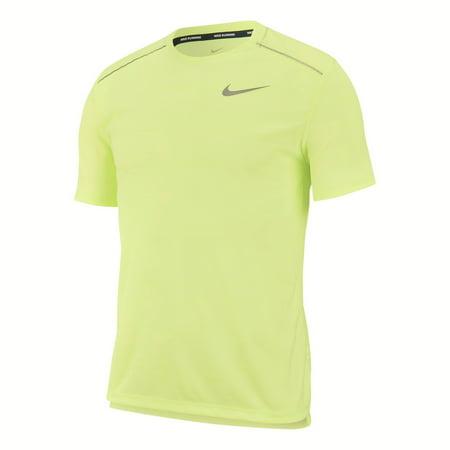 Nike Men's Dri-FIT Miler Short Sleeve Running Shirt Barely Volt (Small)